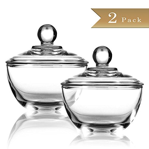 (Set of 2) Clear Glass Sugar Bowls with Lid 8 Ounce by TrueCraftware
