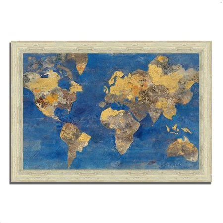 Wrought Studio 'Golden World' Framed Acrylic Painting Print 1932 Gold Framed Print
