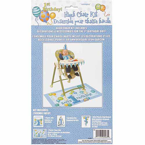 Blue First Birthday High Chair Decorating Kit, 4-Piece Set
