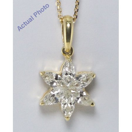 18k Yellow Gold Kite Cut Invisible setting Marquise Diamond Flower Pendant (0.65 Ct, I-J Color, SI3