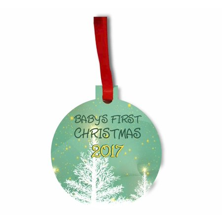 Baby's First Christmas 2017 TM Flat Round-Shaped Hardboard Holiday Tree Ornament Made in the USA](Halloween Bank Holiday 2017)