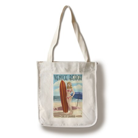 Venice Beach, California - Pinup Surfer Girl - Lantern Press Poster (100% Cotton Tote Bag - (Venice Beach Girl)