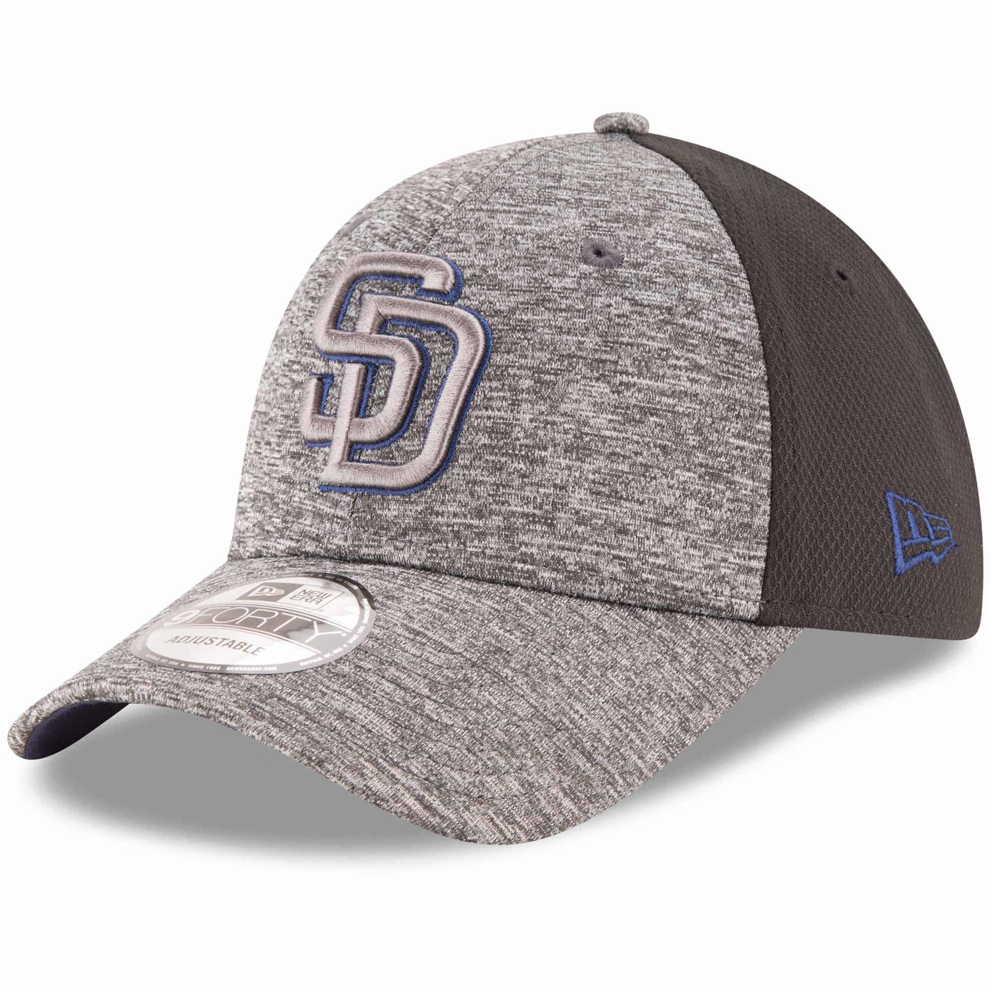 San Diego Padres New Era Shadowed Team Logo 9FORTY Adjustable Hat - Heathered Gray/Black - OSFA