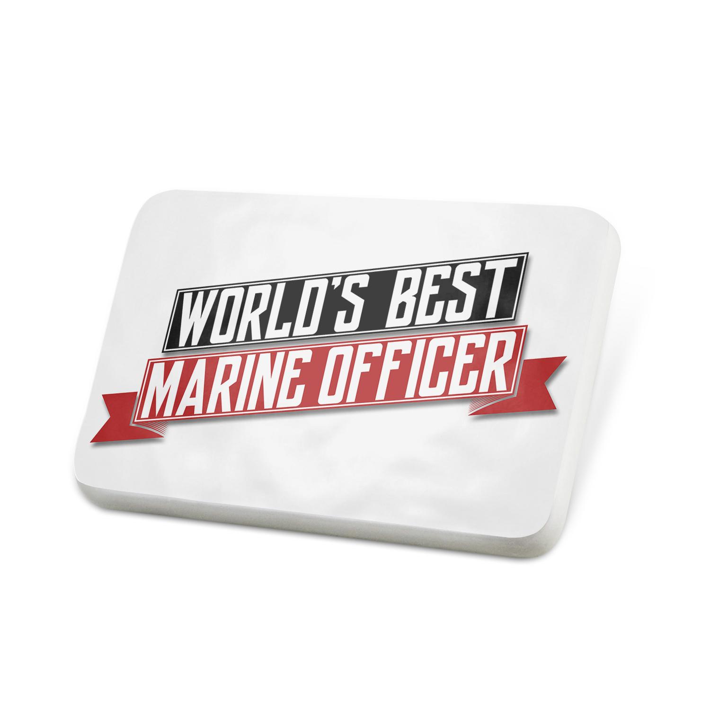 Porcelein Pin Worlds Best Marine Officer Lapel Badge – NEONBLOND