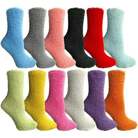 Wholesale Womens Fuzzy Socks (Yacht & Smith Womens Wholesale Bulk Warm And Cozy Fuzzy Socks, Colorful Winter Socks (12 Pack Assorted))