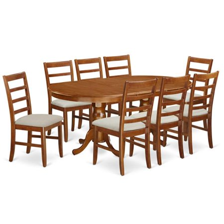 napoleon kitchen table with leaf 8 upholstered seat chairs saddle brown 18 in 9 piece. Black Bedroom Furniture Sets. Home Design Ideas