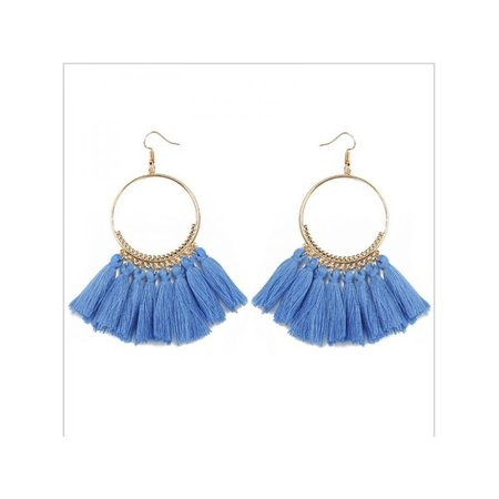 Women Round Circle Tassel Drop Earrings Bohemian Fringe - Bamboo White Earrings