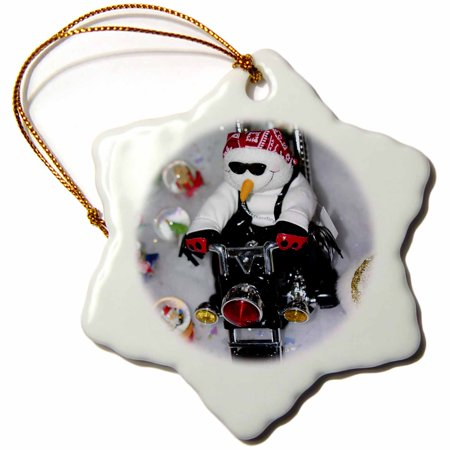 Spinning Snowflake Snowman (3dRose White snowman sitting on a motorcycle driving on snow. - Snowflake Ornament,)