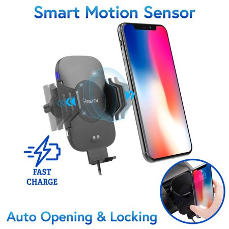 Insten Infrared Motion Sensor Auto Open & Clamp Air Vent Cell Phone Holder Cradle with Fast Wireless Charging Pad for LG G7 ThinQ G6 V30 V35 V30S