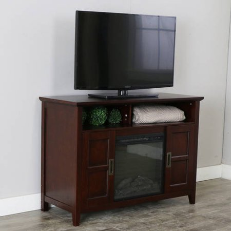 52  Rustic Chic Fireplace TV Stand for TVs up to 55  - Coffee Brown Bring a touch of elegance and warmth to your entertaining space while showcasing your TV, accessories and decor with this simple chic fireplace TV stand. This stand offers open and concealed storage to house your media equipment and favorite movies, media and more. Supports most flat panel TV's up to 55 inches and provides ample storage space.