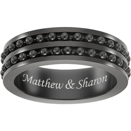 Personalized Black Stainless Steel Engraved Ball Bead Spinner Band