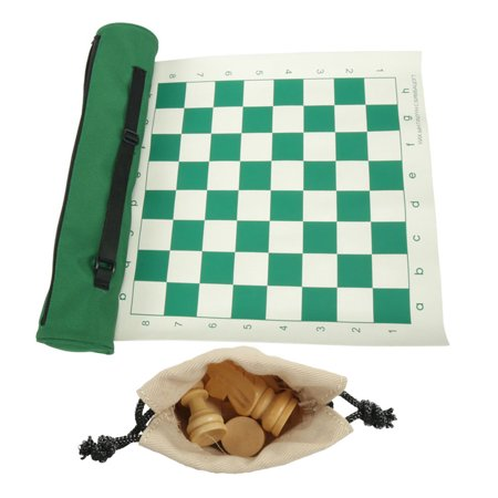 Foldable Chess Leather Chessboard Set Roll-up Travel Chess Set in Carry Tube with Shoulder Strap Great Beginner Chess Set