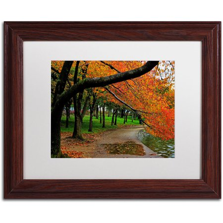 "Trademark Fine Art ""Tidal Basin Autumn 2"" Canvas Art by CATeyes, White Matte, Wood Frame"