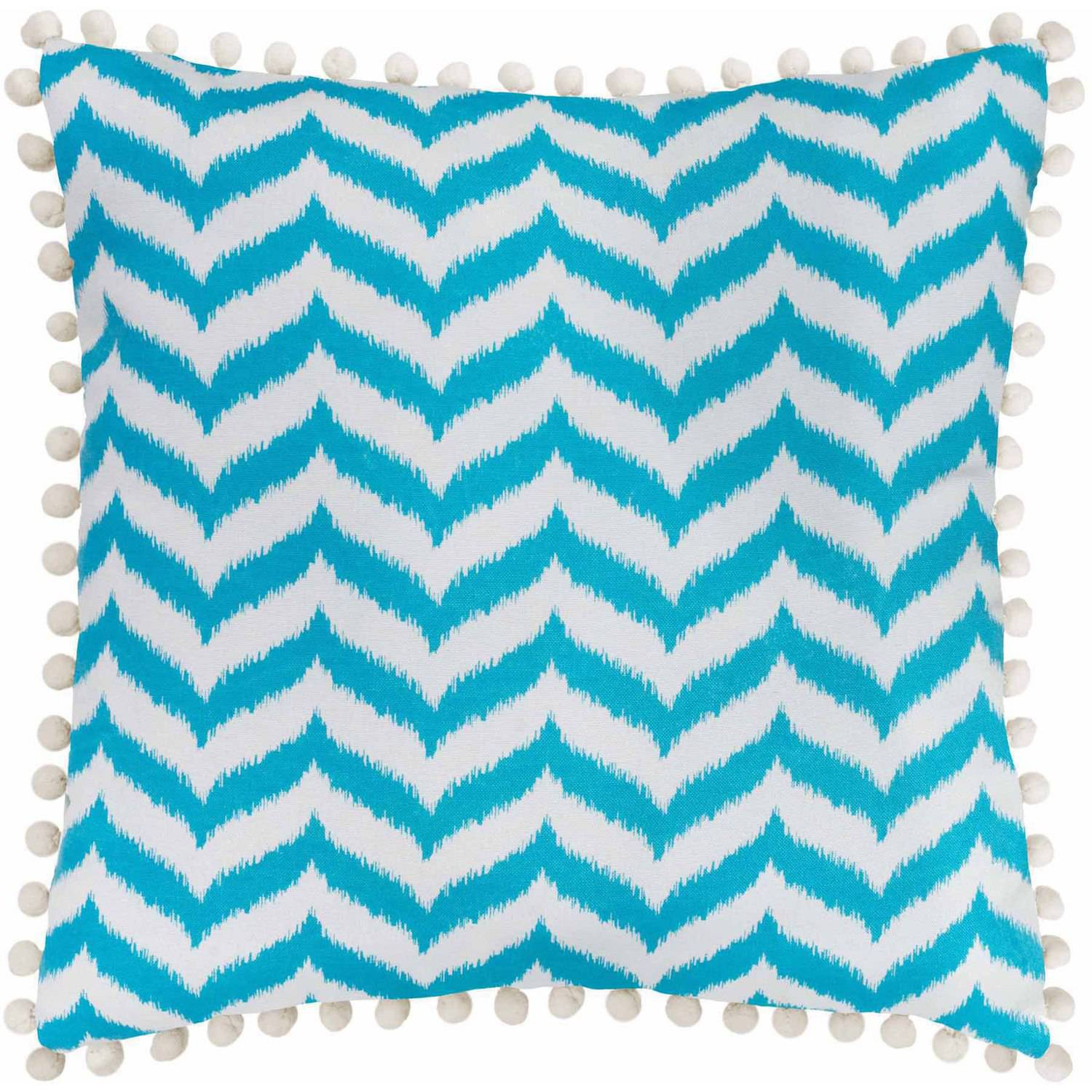 Better Homes and Gardens Ikat Chevron Trendy Toss Pillow with Playful Pompoms