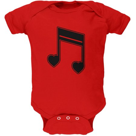 16th Note Hearts Red Soft Baby One Piece (Double 16th Note)