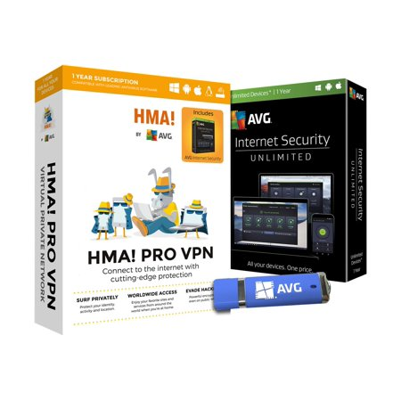 HMA! Pro VPN - Box pack (1 year) - flash drive - Linux, Win, Mac, Android, iOS - with AVG Internet Security (Best Vpn Service For Android)