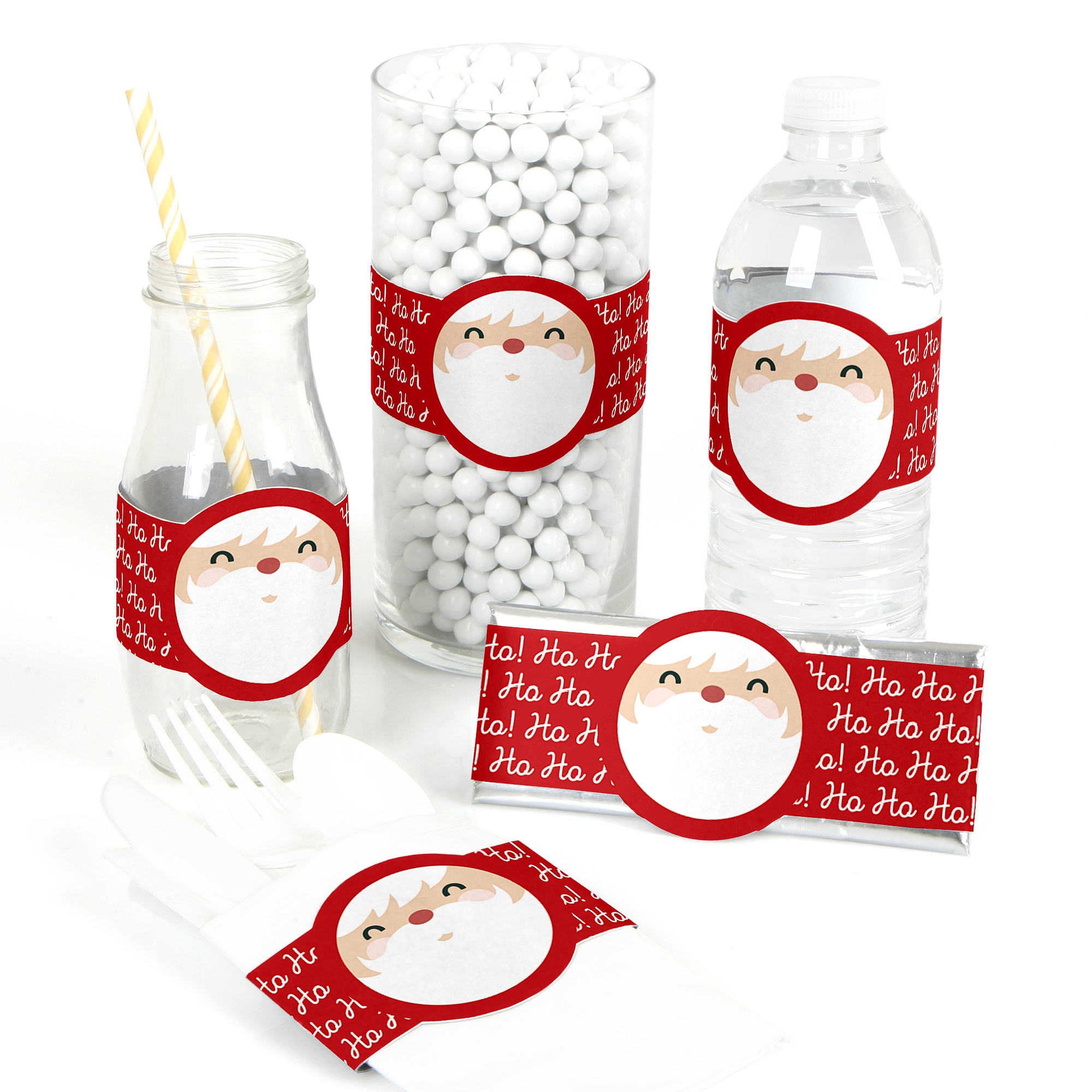 Jolly Santa Claus - DIY Christmas Party Wrapper Favors - Set of 15