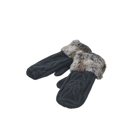 Parkhurst Women's Faux Fur Mittens - Black Cable Knit Winter Gloves Carhartt Knit Glove