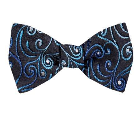 Men's Blue and Navy Silk Self Tie Bowtie Tie Yourself Bow Ties ()