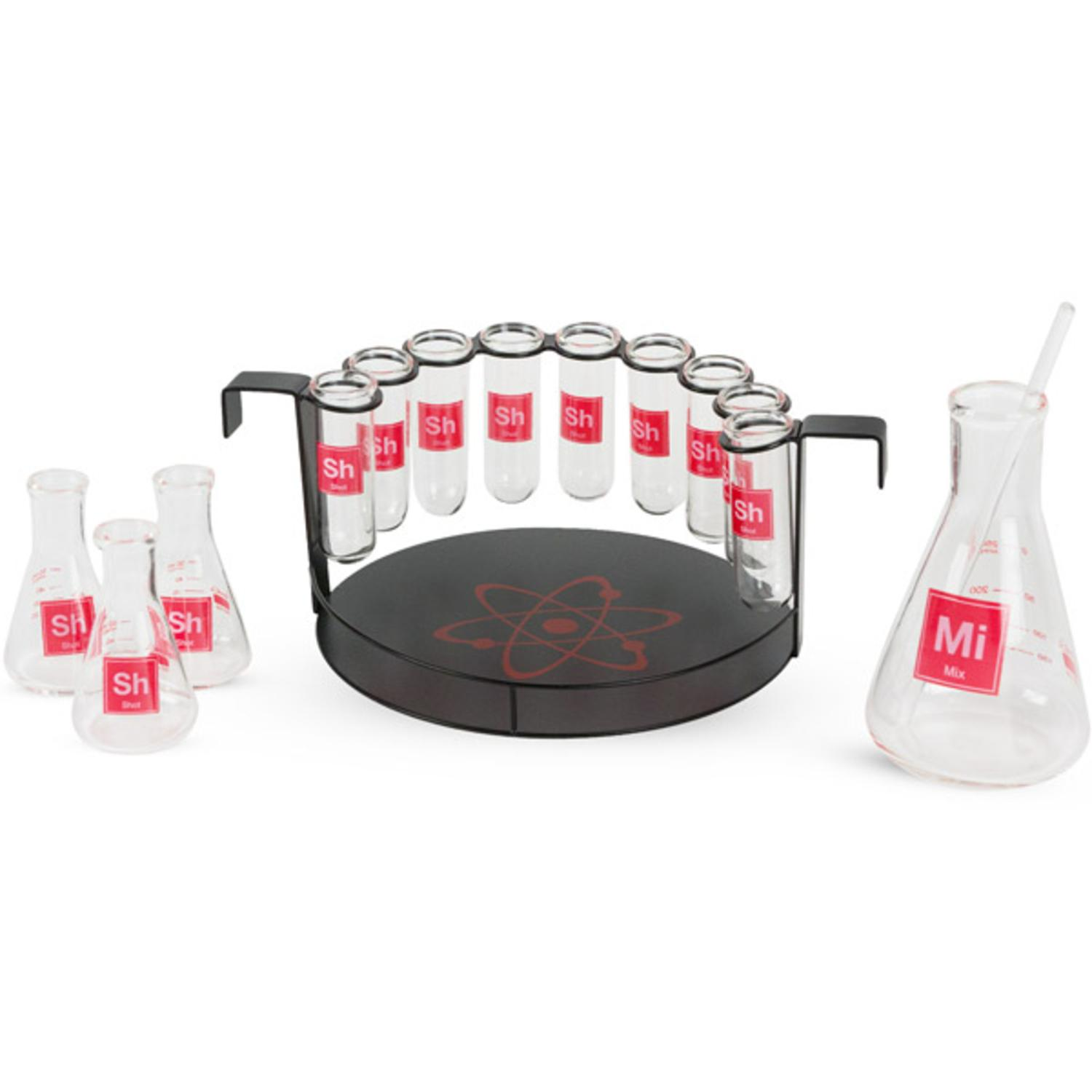 15-Piece Science Themed Novelty Shot Glass Bar Set with Chemistry Glassware and Serving Tray
