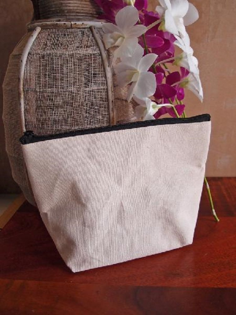 Eco-Friendly Gusseted Zipper Pouches Cosmetic, Toiletry Bags (Pack of 3) (Natural Jute Blend)