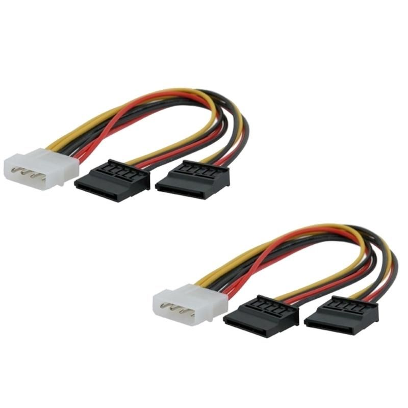 Insten 2 Pcs 4 pin Molex Connecter To 2 15 Pin Serial ATA SATA Power Splitter Cable New