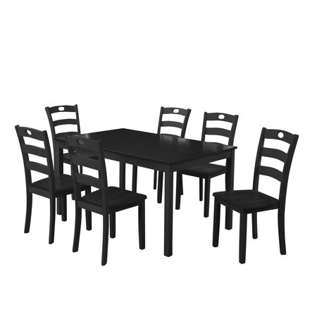 CLEARANCE! 7 Piece Dining Table Sets, Solid Acacia Wood Rectangular Table with Thick Legs & Black Finish Frame, Dining Table and Chairs for Apartment or Breakfast Nook, Black, S12606 7 Piece Rectangular Leg