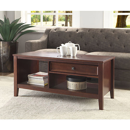 Linon Wander Coffee Table with Drawer, Cherry Finish