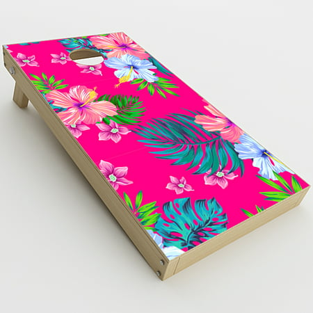 Skin Decal Vinyl Wrap for Cornhole Game Board Bag Toss (2xpcs.) Skins Stickers Cover / Pink Neon Hibiscus Flowers](Cornhole Covers)