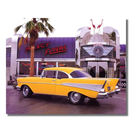 1957 Chevrolet Bel Air Chevy Car at Diner Photo Wall Picture 8x10 Art Print