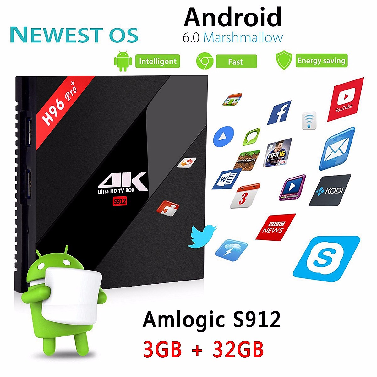 H96 PRO Plus Amlogic S912 Octa Core 3G +32G Android 6.0 WiFi BT4.1 TV Box , US Plug