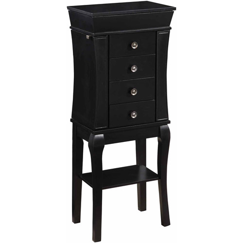 Linon Tara Four-Drawer Jewelry Armoire With Mirror, Black