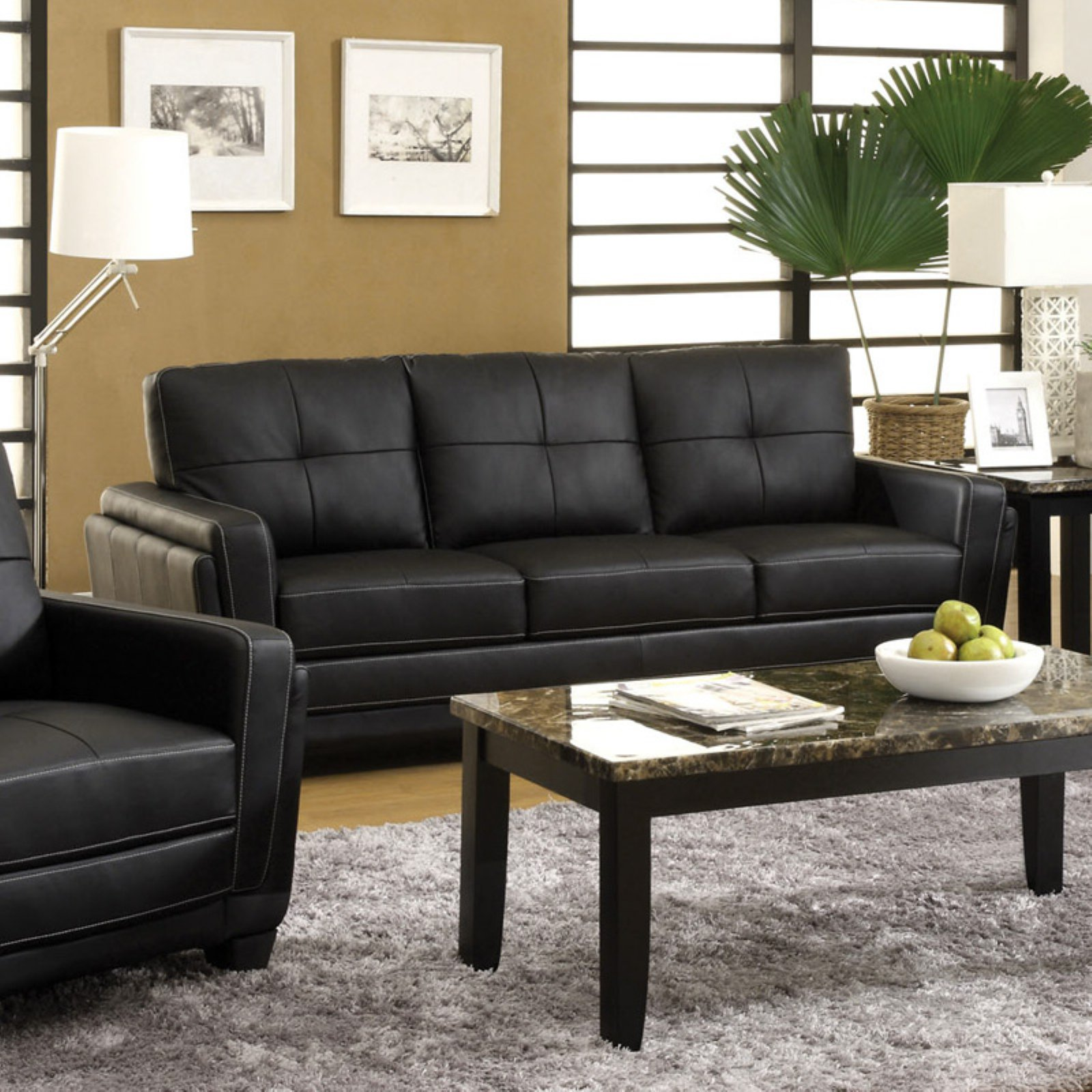 Furniture of America Silverdale Leatherette Sofa - Black