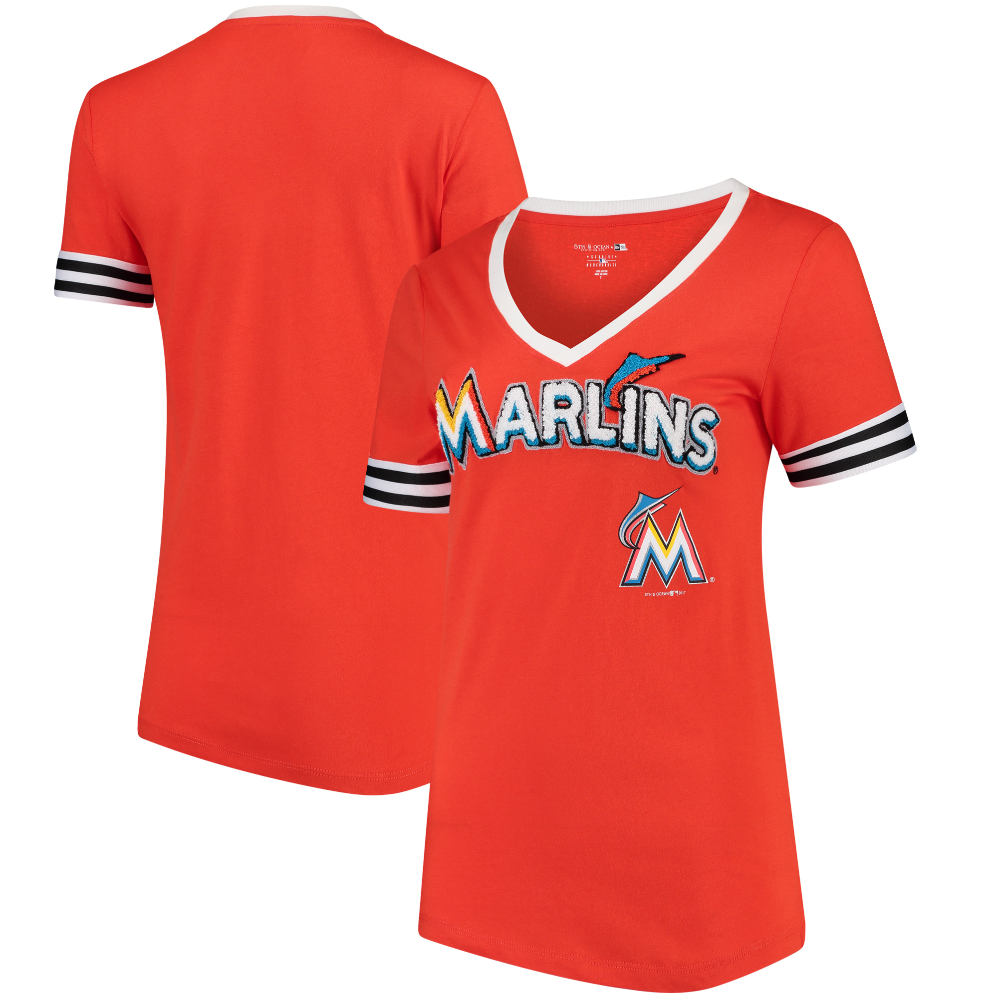 Miami Marlins 5th & Ocean by New Era Women's Baby Jersey V-Neck T-Shirt - Orange