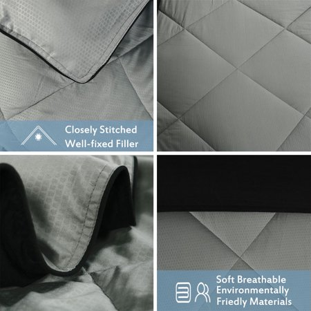 All-Season Quilted Comforter Warm Duvet Insert Polyester Fill Twin Light Gray - image 3 of 7