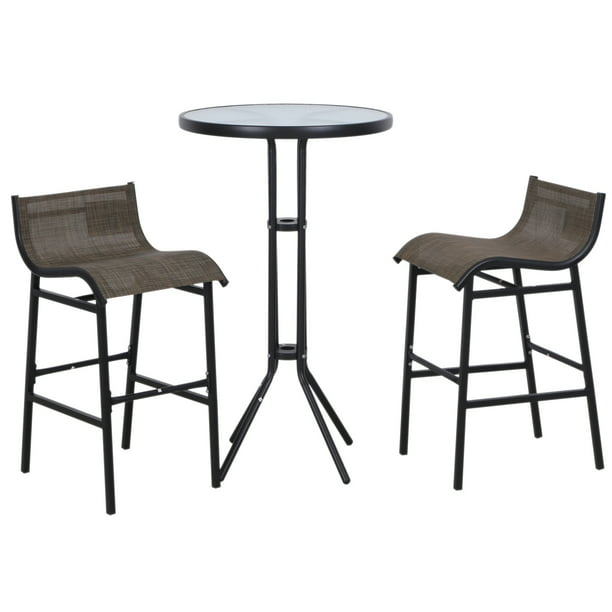 Outsunny 3 Piece Bar Height Outdoor Patio Pub Bistro Table Chairs Set - Black/Tan