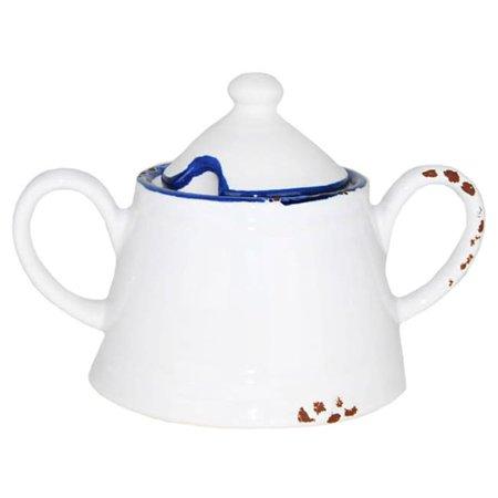 Dazeny Hand-painted Enamel Vintage-style Sugar Bowl Blue Mist Sugar Bowl