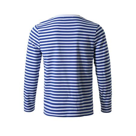 Allegra K Homme Encolure Torsadée Manches Longues Motif Rayé T-shirt - image 3 de 7