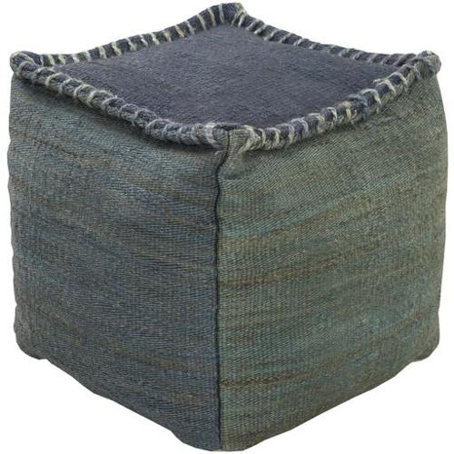 "18"" Slate Blue and Forest Green Stitched Top Jute Square Pouf Ottaman"