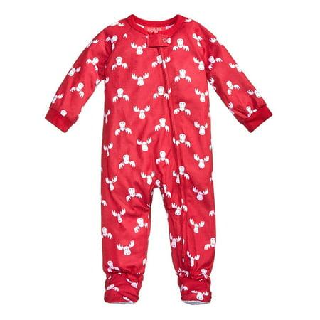 Family PJs Moose Print Polyester Footed Pajamas](Family Christmas Pjs Sale)