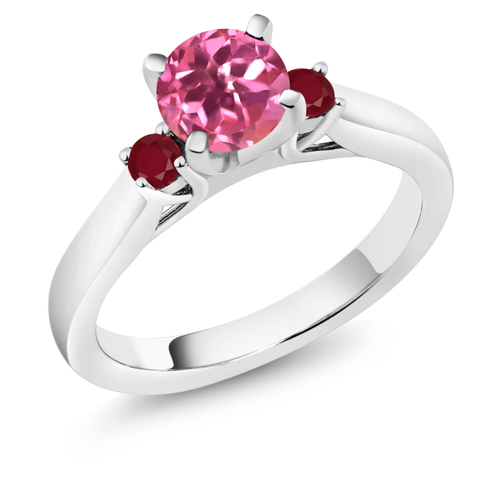 1.28 Ct Round Pink Mystic Topaz Red Ruby 18K White Gold 3-Stone Ring by