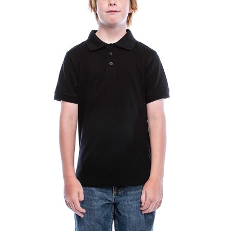 550f8469 Boys Big Boy's Short Sleeve 3 Button Plain Polo Shirts for Boys 1100-20-Black  - Walmart.com