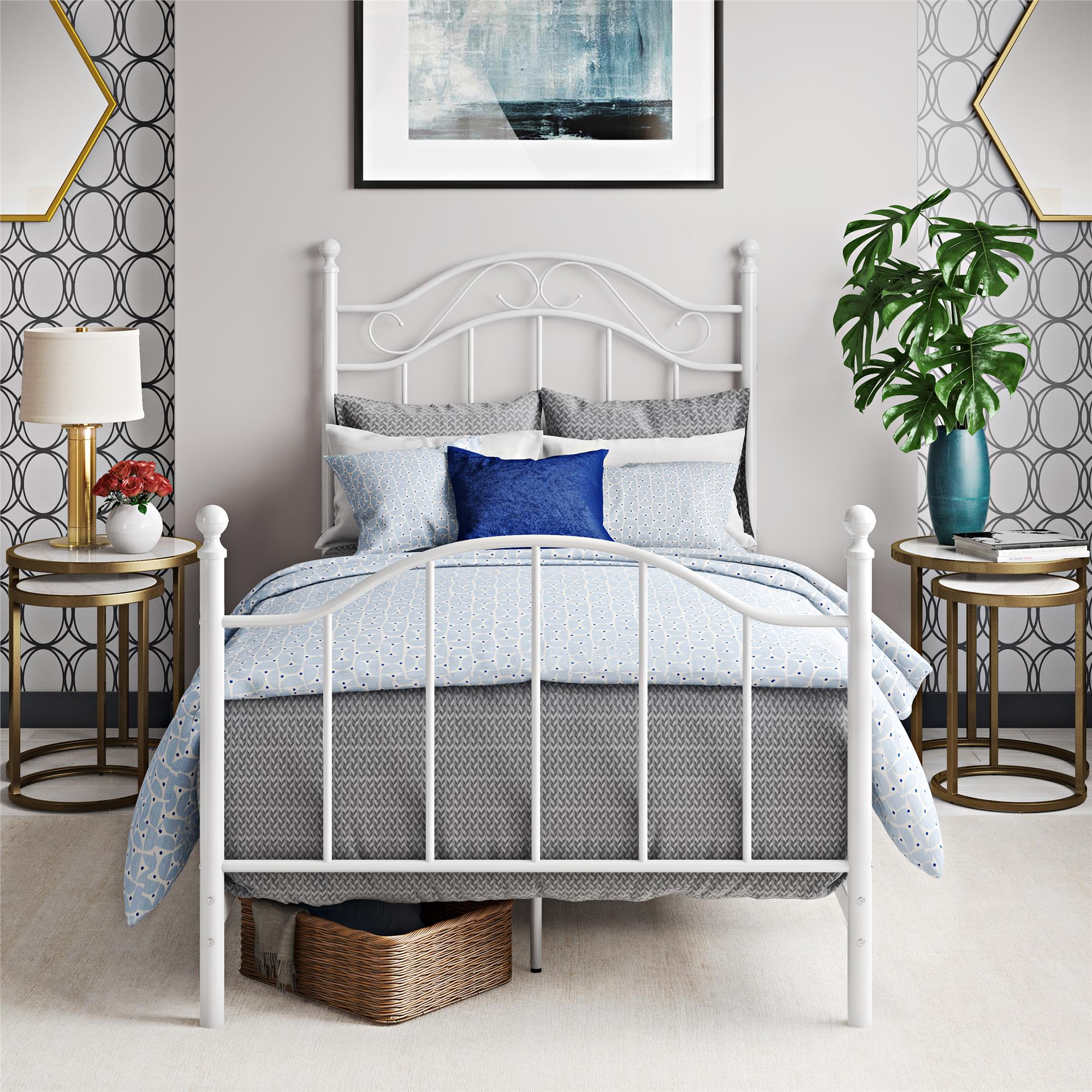 Mainstays Traditional Metal Bed, Twin, White, With Headboard