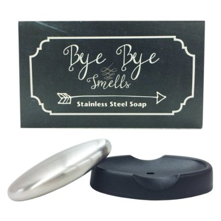Bye Bye Smells Stainless Steel Oval Shaped Odor Removing Bar with Tray (Stainless Steel Bar Tray)