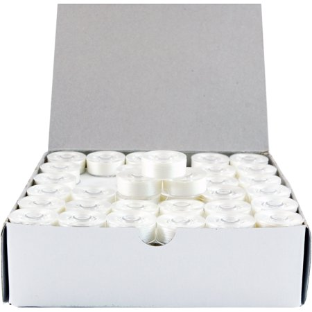 Threadart Prewound Embroidery Bobbins- 144 Count Per Box - Plastic Sided White - L Style - 8 Options Available