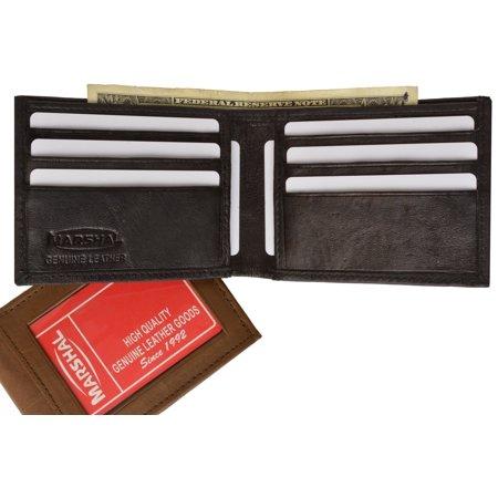 Bifold Lambskin Leather Outside ID Window Mens Wallet 1358 (C) Black