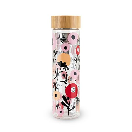 Glass Travel Mugs (Travel Mug Tea Infuser, Posy Patterned Glass Loose Leaf Travel Infuser)