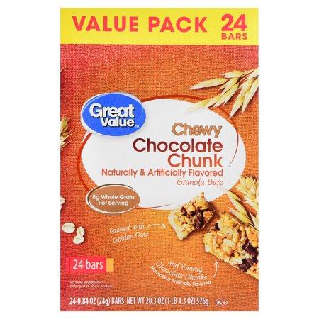 Great Value Chewy Chocolate Chunk Granola Bars Value Pack 20.3 oz 24 Count Chocolate Pop Tarts