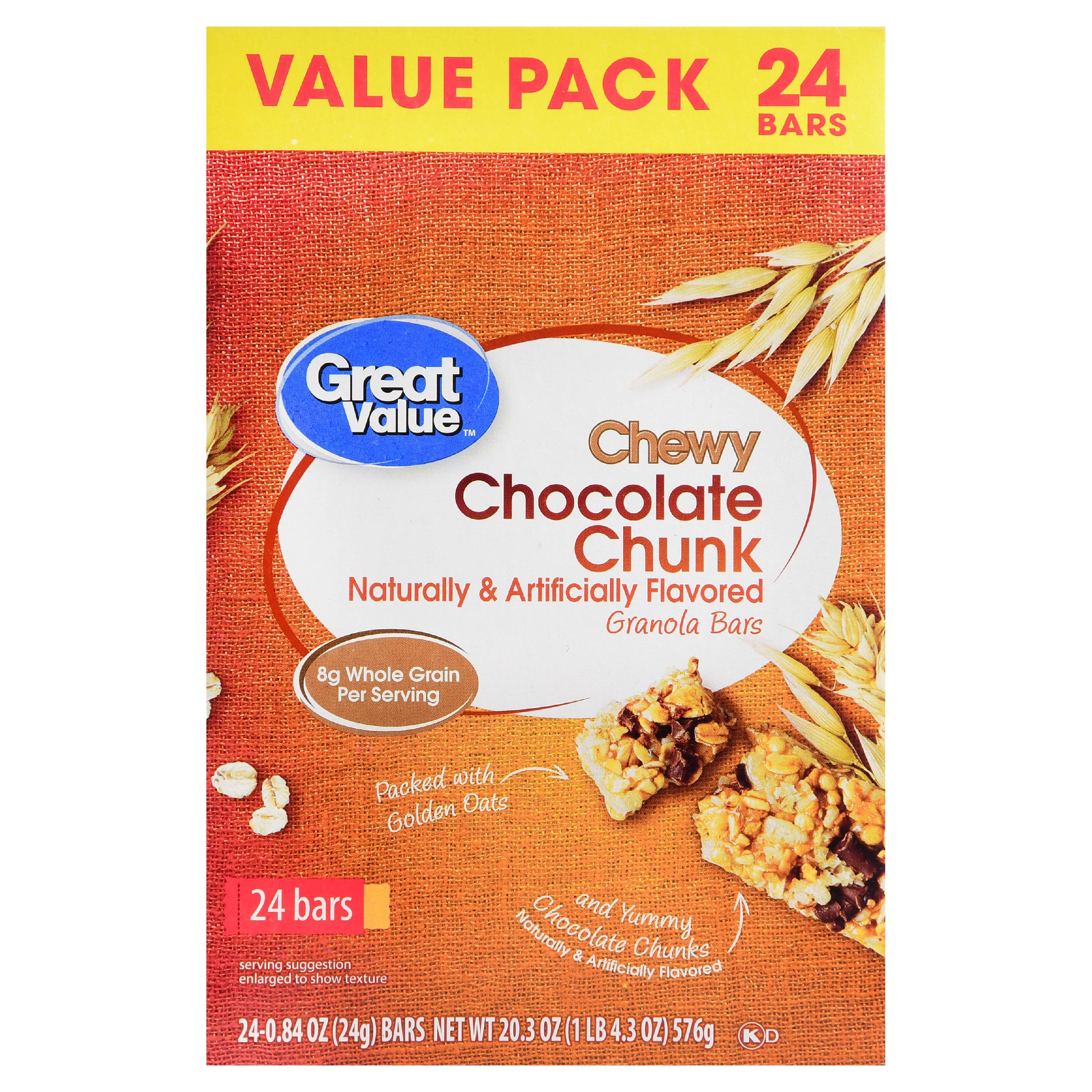 (3 Pack) Great Value Chewy Chocolate Chunk Granola Bars, Value Pack, 20.3 oz, 24 Count