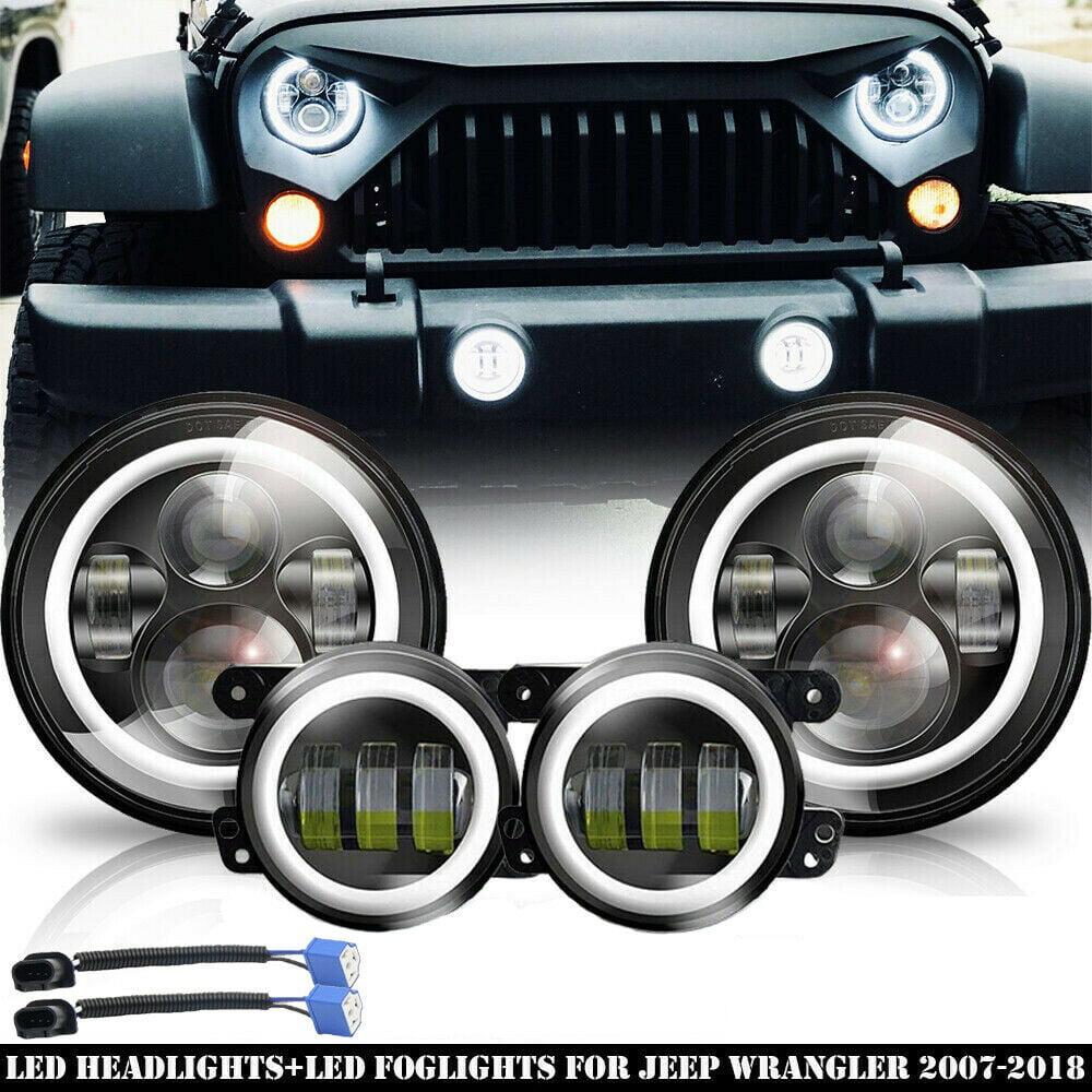 "7/"" 60W LED Headlights Angel Eyes Fog Lights Amber Signal for 07-17 Jeep Wrangler"